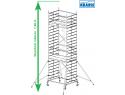 Rusztowanie aluminiowe jezdne KRAUSE - STABILO 50. 2,00m x 1,50m Wysokość robocza: 7,4m